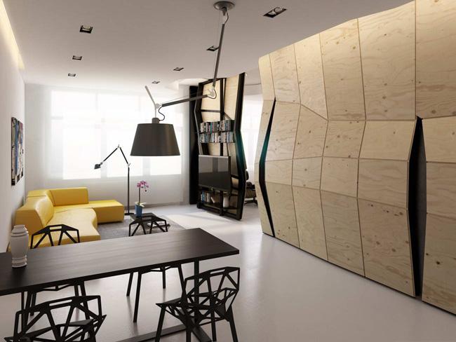 Transformer-stan sa pokretnim zidom za uštedu prostora